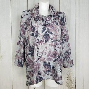 Catherines Gray Purple Floral Print Sweatshirt Top